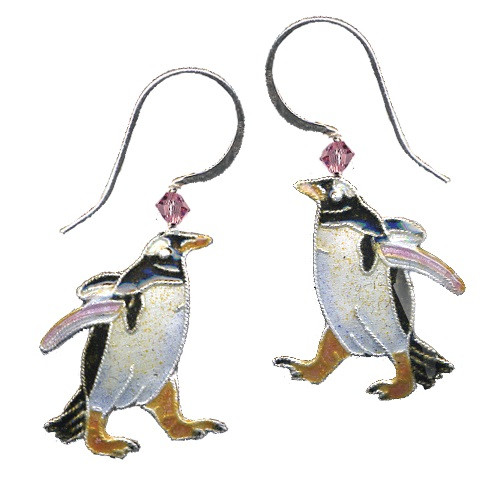 Gentoo Penguin Cloisonne Wire Earrings   Nature Jewelry