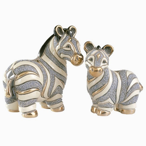 Zebra and Baby Ceramic Figurine Set | Rinconada