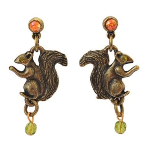 Squirrel Dangle Post Earrings | Nature Jewelry