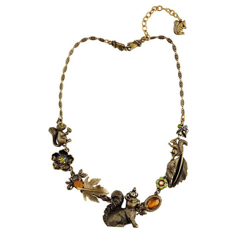 Squirrel Asymmetrical Necklace | Nature Jewelry