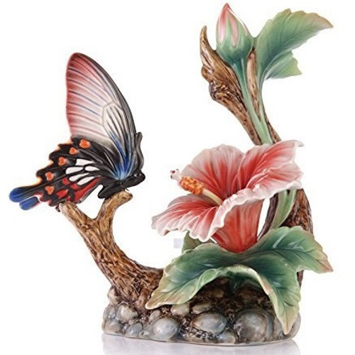 Butterfly and Hibiscus Porcelain Figurine