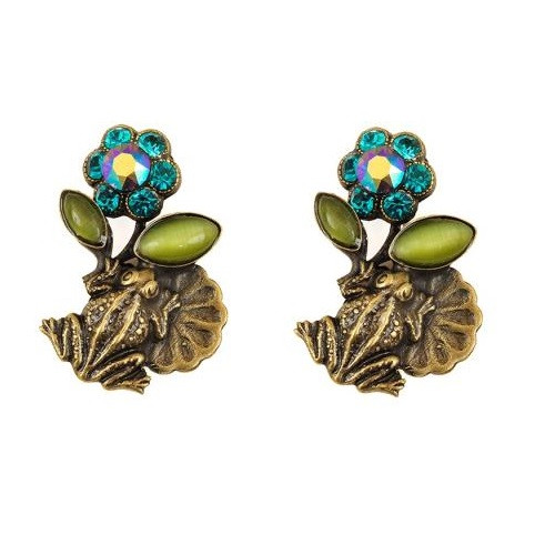 Frogs On Lily Pads Post Earrings   Nature Jewelry