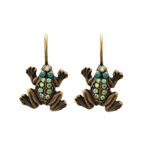 Frog Eurowire Earrings   Nature Jewelry