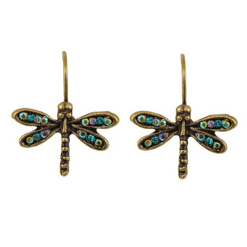 Dragonfly Eurowire Earrings   Nature Jewelry