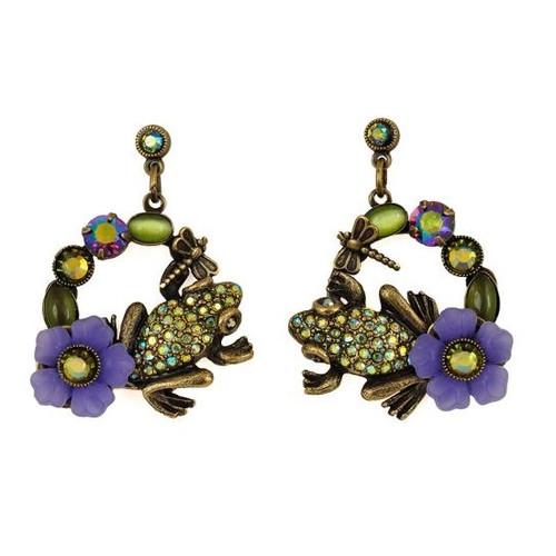 Frog Hoop Dangle Earrings   Nature Jewelry