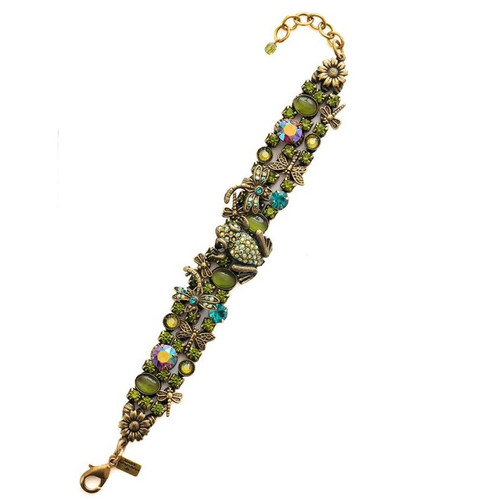Frog and Dragonflies Bracelet   Nature Jewelry
