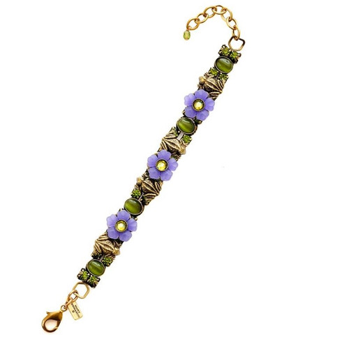 Frogs And Flowers Bracelet   Nature Jewelry