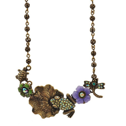 Frog On Lily Pad Pendant Necklace   Nature Jewelry