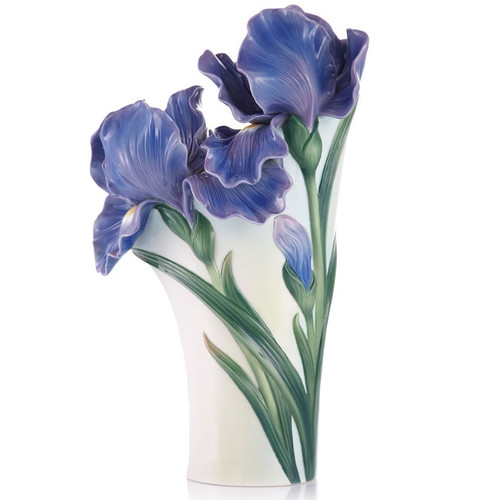 Iris Flower Sculptured Porcelain Vase | FZ03422