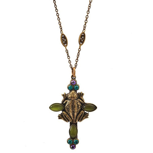 Frog Cross Pendant Necklace   Nature Jewelry