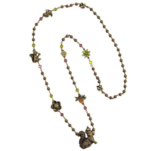 Squirrel Long Chain Necklace | Nature Jewelry