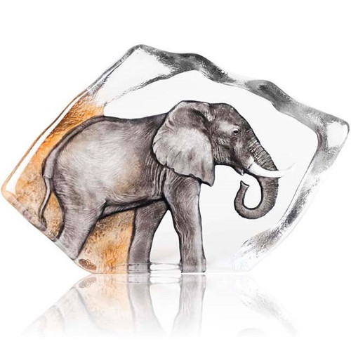 Elephant Color Crystal Relief Sculpture | 34114