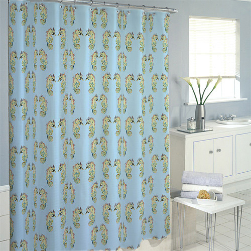 seahorse pattern shower curtain