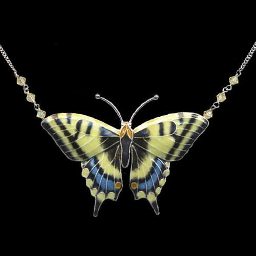 Swallowtail Butterfly Cloisonne Necklace | Nature Jewelry