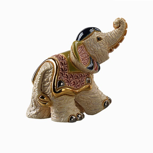 Ceramic Asian Elephant And Baby Figurine De Rosa Collection