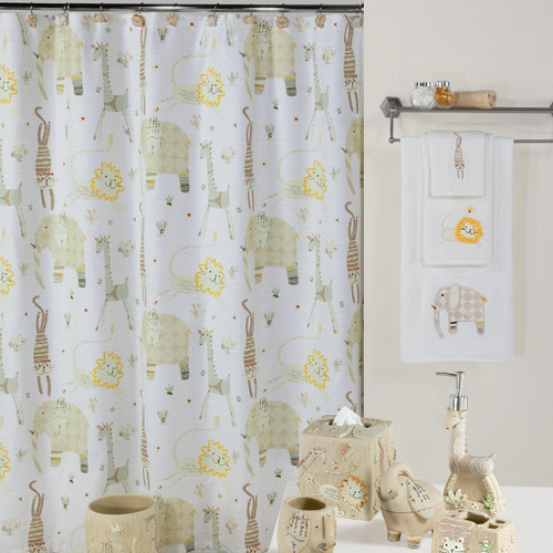 Animal Crackers Shower Curtain & Hooks Set