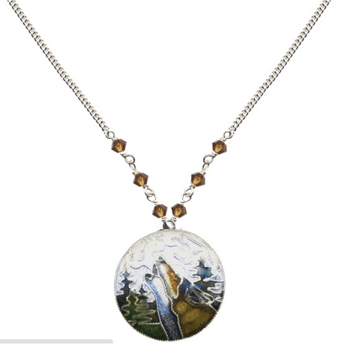 Wolf With Moon Cloisonne Small Necklace | Nature Jewelry
