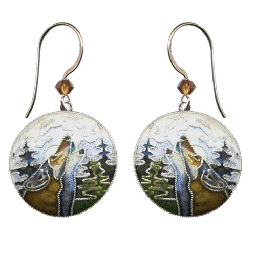 Wolf  With Moon Bamboo Cloisonne Wire Earrings | Nature Jewelry