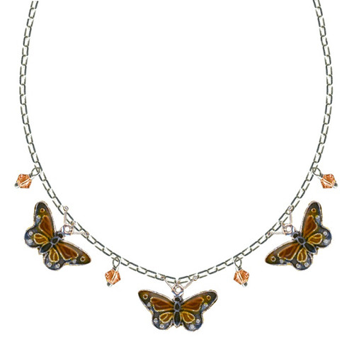 Monarch 3 Piece Cloisonne Crystal Necklace | Nature Jewelry