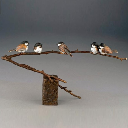"Chickadee Bronze Sculpture ""Family Reunion"""