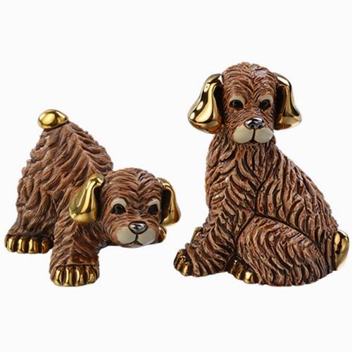 Brown Dog and Puppy Ceramic Figurine Set | Rinconada