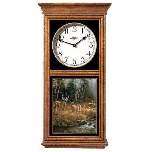 "Deer Oak Wood Regulator Wall Clock ""October Mist"""