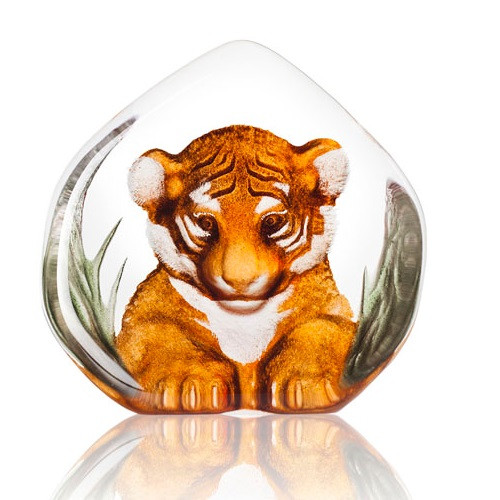 Tiger Cub Painted Crystal Sculpture   34174