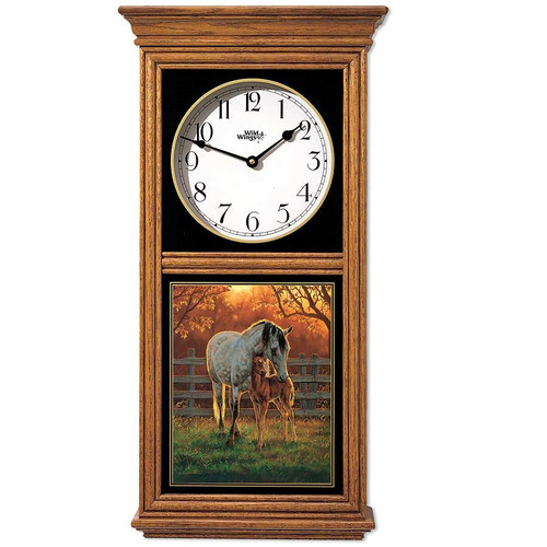 Horse Oak Wood Regulator Wall Clock