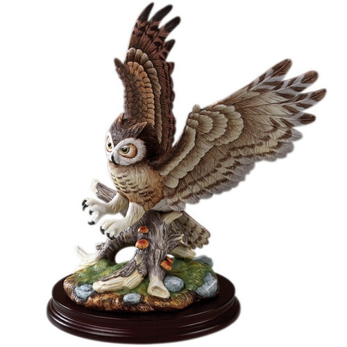 Great Horned Owl Porcelain Sculpture