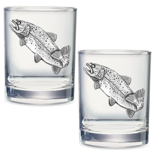 Trout Double Old Fashioned Glass Set of 2