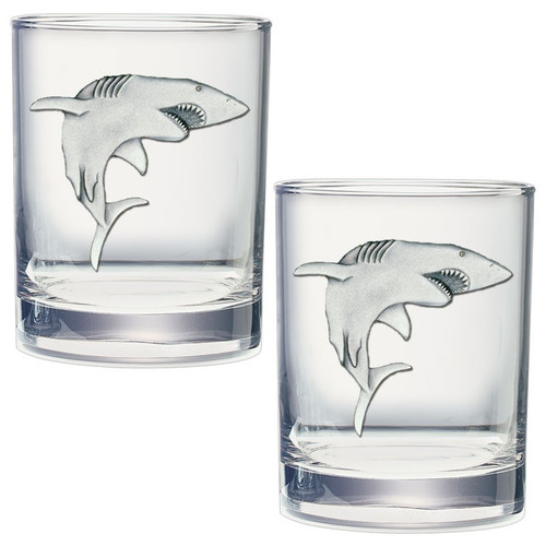 Shark Double Old Fashioned Glass Set of 2