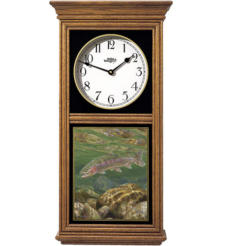 Rainbow Trout Oak Wood Regulator Wall Clock