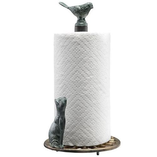 Cat & Bird Paper Towel Holder | 33619