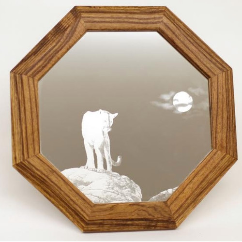 "Cougar Oak Mirror ""Midnight Watch"""