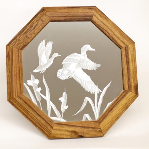 "Duck Oak Mirror ""Cattail Mallards"""