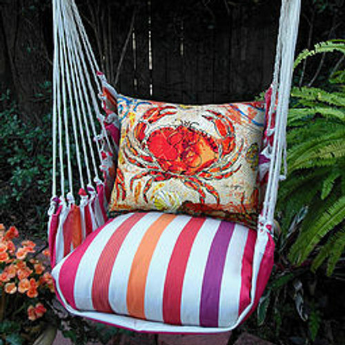 Crab Striped Hammock Chair Swing Red