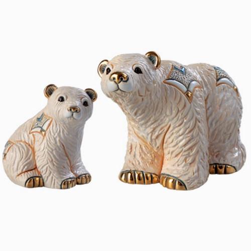 Arctic Polar Bear and Baby Ceramic Figurine Set | Rinconada