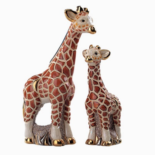 Giraffe and Baby Ceramic Figurine Set | Rinconada