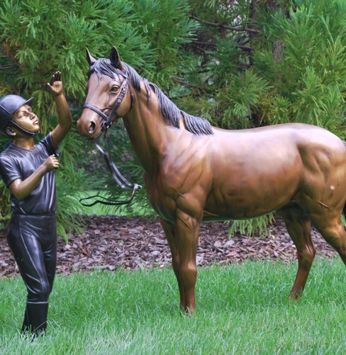 Horse and Girl Bronze Outdoor Statues