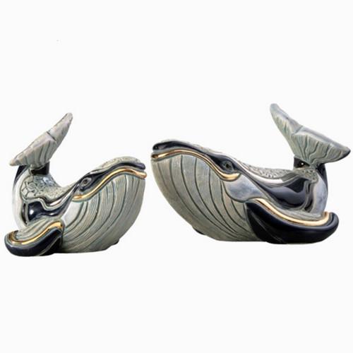 Humpback Whale and Baby Ceramic Figurine Set | Rinconada