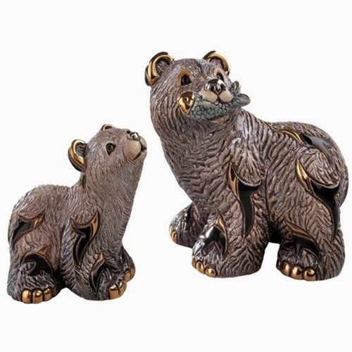 Grizzly Bear and Cub Ceramic Figurine Set | Rinconada