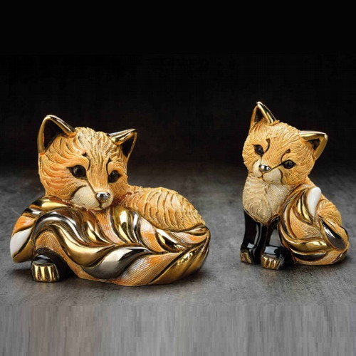 Red Fox and Baby Ceramic Figurine Set | Rinconada