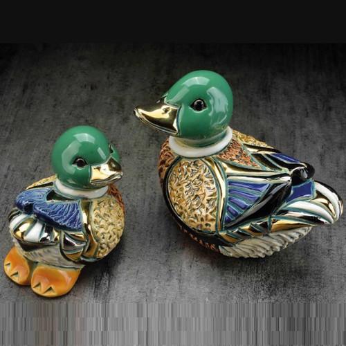 Mallard Duck and Baby Ceramic Figurine Set | Rinconada
