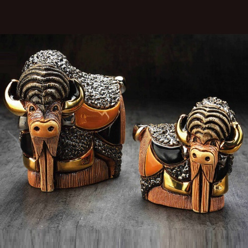 Bison and Baby Ceramic Figurine Set | Rinconada