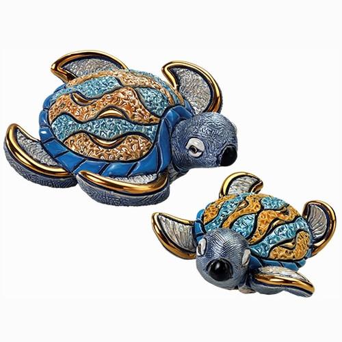 Hawksbill Sea Turtle and Baby Ceramic Figurine Set
