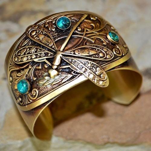 Dragonfly Brass Victorian Cuff Bracelet   Nature Jewelry