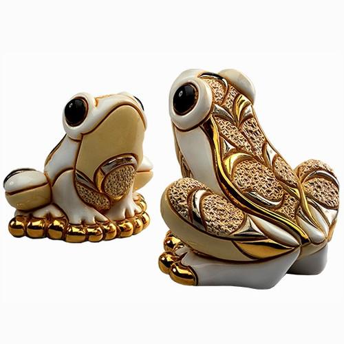 White Frog and Baby Ceramic Figurine Set | Rinconada