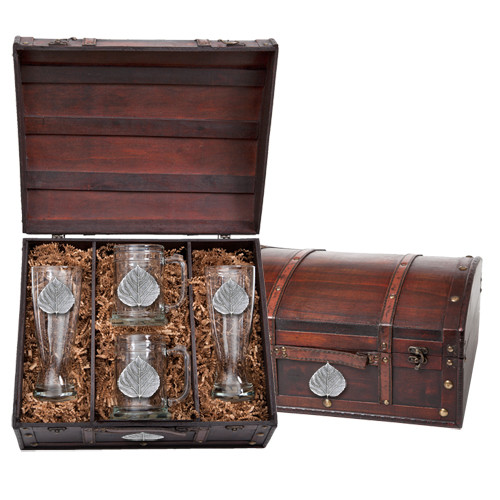 Aspen Leaf Beer Glass Chest Set