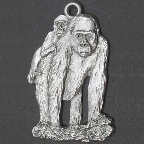 Gorilla and Baby Pewter Ornament