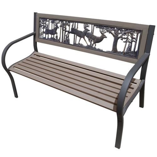 Deer Bucks 2-Tone Tube Steel Outdoor Bench